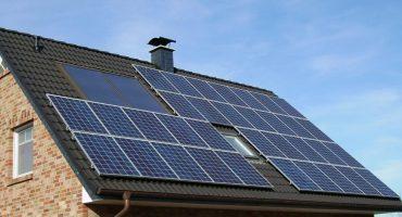 solar panel array on house