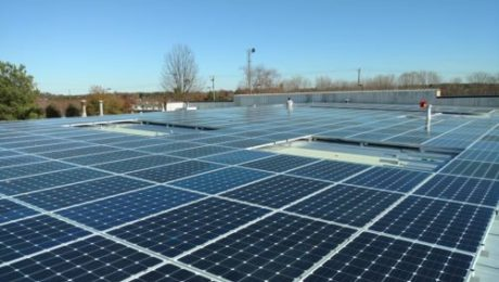 Commercial rooftop solar energy pv installation array
