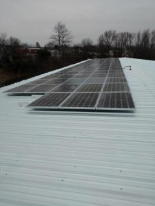 Commercial solar energy pv system array metal roof