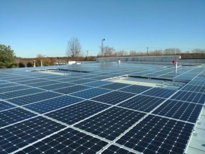Commercial rooftop solar energy pv installation array Greenville, SC Greenville County