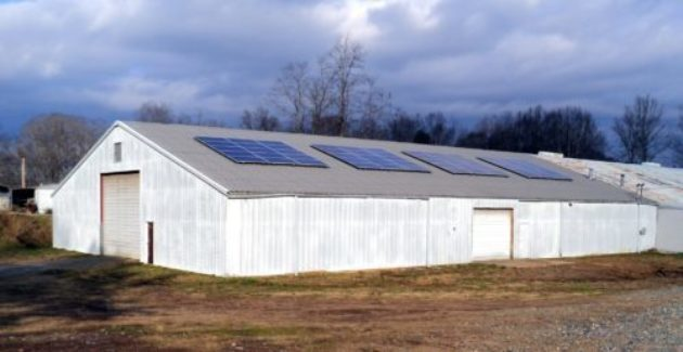 Brewery solar energy system on barn metal roof standing seam Marshall, North Carolina – Madison County