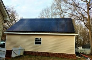 residential solar array on garage roof